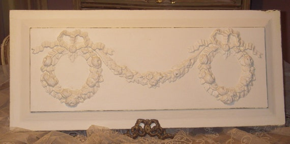 Antique~1900's Victorian BARBOLA Gesso ROSES, Ribbons & Swags~Wreaths~Wooden Architectural Decorative Panel
