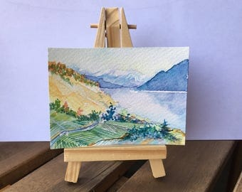 Swiss Vineyards - ATC / ACEO Original Watercolor Painting - Miniature Mini Painting - Landscape - OOAK Collectible Fine Art Card Gift Set
