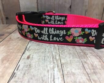 "The Ellery | Designer 1"" Width Dog Collar | CupcakePups Collars | Hearts | Medium/Large Dog Collar"