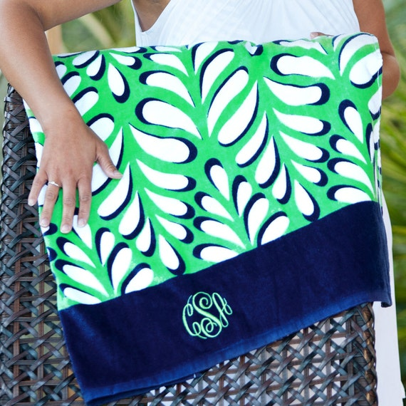 Monogrammed Beach Towel Personalized Navy and Green Palm Leaf Beach Towel Bridesmaids Gifts Summer Weddings Beach Weddings Highway12Designs