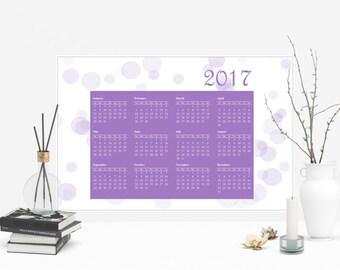 Purple Bokeh Photo, Office Wall Calendar