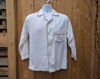 Vintage 1950's Beige With Red Trim Men's 100% Cotton Pajama Top Shirt