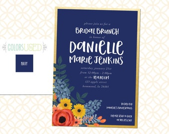 Printable Colorful Floral Bridal Brunch Invitation, Bridal Shower Invitation, Bridal Luncheon Invite with Flowers, Bridal Invite