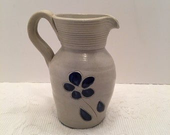 Williamsburg Pottery Salt Glaze Pitcher ~ Blue and Gray ~Small Pitcher ~ Single Flower Design ~ Vintage