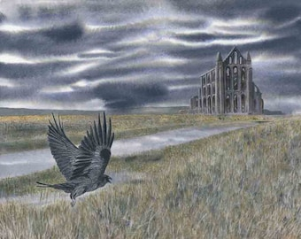 """Greetings card: """"Night flight"""" - bird card, landscape card, Whitby Abbey, Yorkshire, Mystical, grey and black, from a painting by Dave Marsh"""