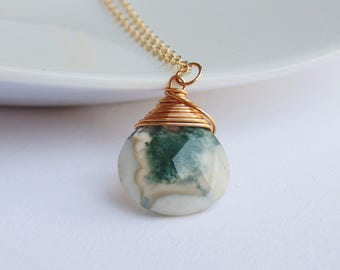 White and green solar quartz gemstone wire wrapped pendant 14k gold filled necklace