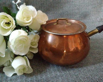 Vintage Copper Cooking Pot with Lid