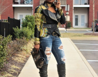 Dashiki And Faux leather Jacket - Hand placed Studs