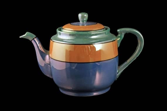 Takito Lusterware Teapot, TT, Iridescent, Made in Japan, Handpainted, Blue, Peach, Green, 3 Cup Teapot