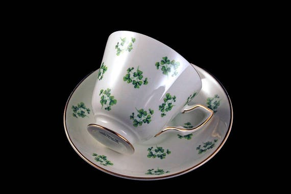 Teacup and Saucer, Royal Tara, Shamrock,  Made In Ireland, Fine Bone China, Gold Trimmed