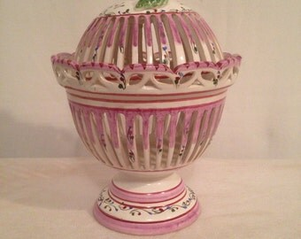 Openwork earthenware ceramic French candy box with lid Vintage