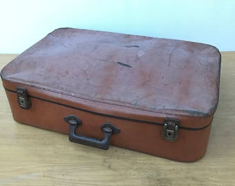 Old suitcase travel year 1950 Vintage Brown trunk