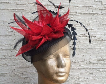 Kentucky Derby hat, Royal Ascot fascinator, derby fascinator, black red hat, Melbourne cup hat, wedding guest fascinator, derby headpiece