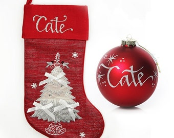 Red Tree Stocking and Bauble Pack