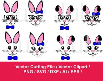 Bunny Face svg, Rabbit Face svg, Bunny clipart, Bunny svg Files , svg, dxf, ai, eps, png, Rabbits cutting  files, Easter svg