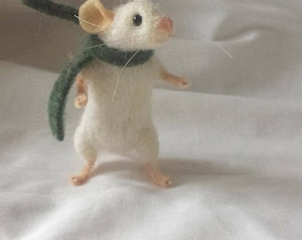 PDF PATTERN FILES Little white mouse Needle Felt Kit - intermediate - The Wishing Shed