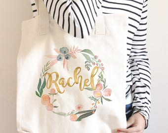 Personalized Floral Tote Bag, Bridesmaid Tote Bag, Bridesmaid Gift, Blush and Sage Floral, Custom Name Canvas Tote Bag, Back to School Gift
