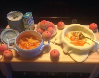 Dollhouse minature  handmade table making apple pie one inch svale dollhouse food