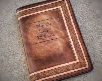 Individually handmade quality leather song book cover for Silver JW song book.
