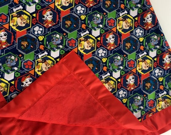 """Paw Patrol Cotton Fabric and Red Minky Blanket With Red Satin Trim  44""""x54"""""""