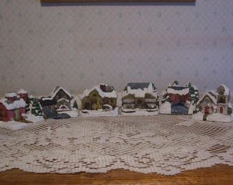 Six American Rustic Country Snow Covered Buildings