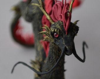 Oriental dragon with red mane, original Creature figurine sculpture handmade, fantasy creature.
