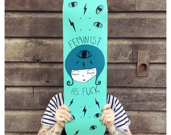 skate deck, hand painted, feminist art, skateboard deck