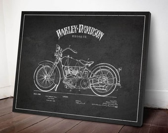 1928 Harley Davidson Patent, Harley Davidson Canvas Print, Harley Davidson Wall Art, Harley Davidson Home Decor, Gift Idea, TRBM03C