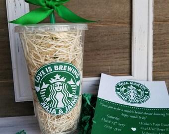 Starbucks Inspired Invite Coffee, Coffee House, Love is Brewing Shower Invite, Birthday Invitation,  Baby shower Starbucks Invitation Cup