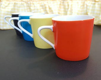 Set of 4 Adorable Vintage Coffee Mugs or Tea Cups, Small Ceramic, Aqua Black Orange and Yellow 1960's-70's