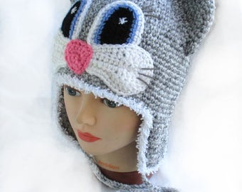 Crochet Cat Hat,Crochet animal hat,Crochet winter hat,Crochet grey hat,Crochet fun hat,Crochet kitten hat