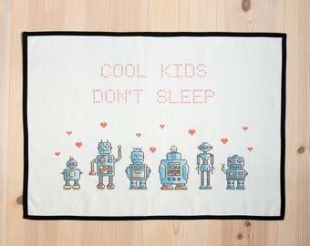 """Complete cross stitch kit """"Cool kids / We are the robots"""""""