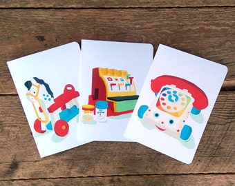 """Greeting cards """"Our first toys"""" - Set of 3"""