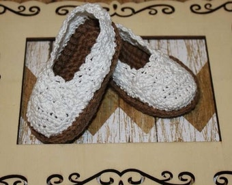 Free Shipping - White Crocheted Espadrilles - Baby Girl Booties - Crib Shoes