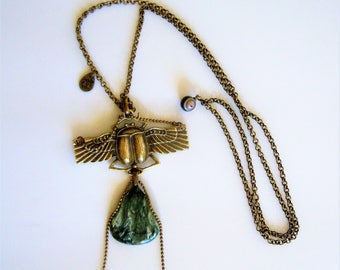 "Necklace bronze seraphinite ""Talisman"" beetle."