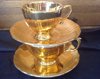 Royal Winton gold teacups and saucers