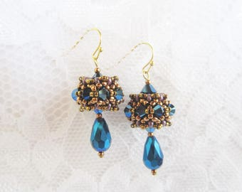 Blue Beaded Drop Earrings-Elegant Earrings-Beaded Bead Earrings-Elegant Dangle Earrings-Crystal Beaded Drop Earrings-Crystal Dangle Earrings