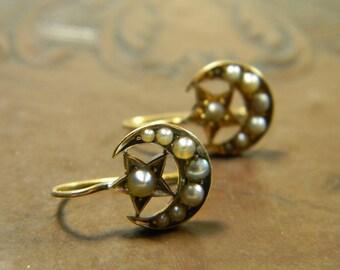 Antique Moon and Star Drop Earrings | 9CT Solid Gold | Seed Pearl Earrings | Victorian Earrings | Crescent Earrings | Moon Earrings | 1800s