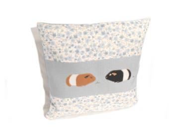 Guinea Pig Cushion Cover, Blue Throw Pillow, Appliqued Pillow Case, Floral Print