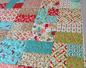 """My Favorite 18 Fabrics Quilts//Mostly Moda Fabrics//55"""" Square Quilts/red, aqua, green//two matching quilts//bunk bed quilts//twin throw qlt"""