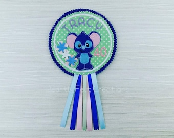 Bear Badge - Bear Birthday - Bear Personalised Badge - Stitch Birthday Badge - Celebration Birthday Badge - Party Favor Gift Blue Koala Bear