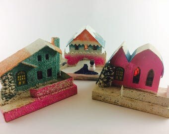 Set of three vintage Putz houses in blue and pink - mid century made in Japan Christmas village decor - cardboard glitter houses