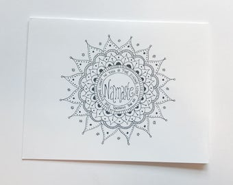 Namaste mandala greeting card. Blank greeting card. Hand drawn card. Mandala art. Greeting cards handmade. Greeting cards blank