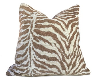 """Cream & Sand Tiger Animal Stripe Pattern Chenille Pillow Cover, Fits 12x18 14x20 16x26 16"""" 18"""" 20"""" 22"""" 24"""" Cushions"""