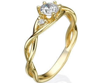 Diamond engagement ring, Engagement ring, Diamond ring, Unique engagement ring, 14k ring, Yellow gold ring, 0.50CT Diamond, Solitaire Ring,
