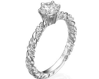 Diamond ring, Diamond engagement ring, Engagement ring, Solitaire ring, Twisted ring, 14k white ring, white gold ring, Diamond white ring