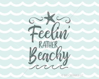 Beach SVG Starfish SVG File. Cricut Explore & more. Feeling Beachy Wish Starfish Beach Ocean Sea Seaside Quote Starfish Waves SVG