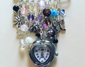Brooch watch made with semi precious stones, pendant watch , charm brooch, watch brooch