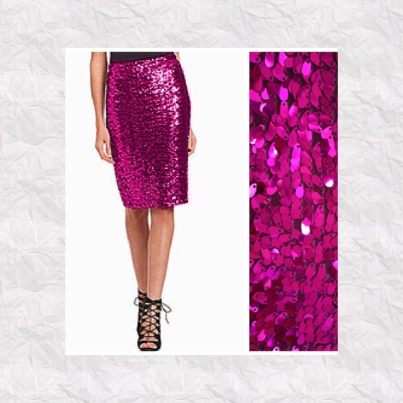 fuchsia pink oval sequin pencil skirt by sparklemegorgeous