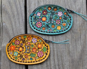 Hand Tooled Leather Coin Purse Custom Monogram Initial Name Flower Pattern Colored Yellow Turquoise Pink Floral Girly Zipper Bag Spring CUTE